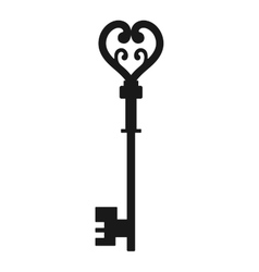 Vintage antique key black silhouette isolated on vector image vector image