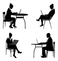 business people laptops vector image