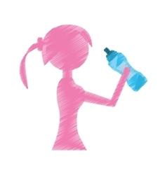 girl holding bottle water refreshing vector image