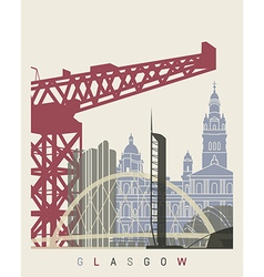 Glasgow skyline poster vector image vector image