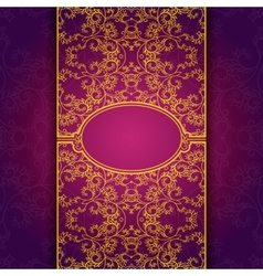 Gold abstract invitation floral violet frame vector image vector image