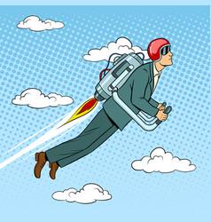 man flying jet pack pop art style vector image