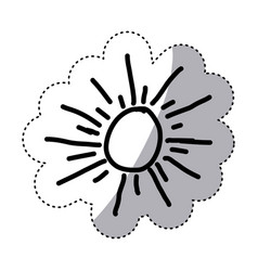 monochrome contour sticker with abstract sun vector image vector image