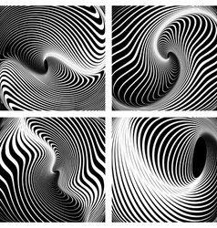 Op art backgrounds set vector image
