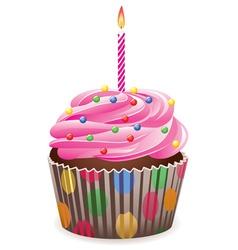 pink cupcake vector image vector image