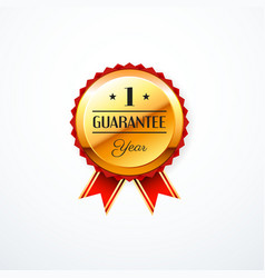 1 year guarantee gold label vector image