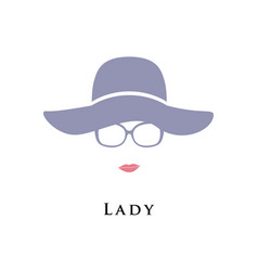 lady in hat and glasses beautiful portrait vector image vector image