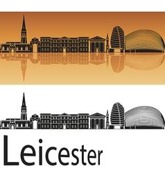 Leicester skyline in orange background vector image