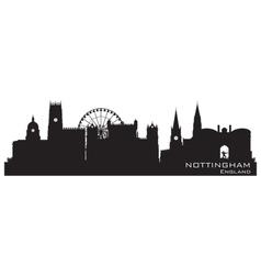 Nottingham England skyline Detailed silhouette vector image