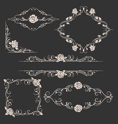 ornamental floral frames set vector image