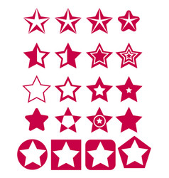 set of red star icons vector image vector image