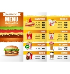 design menu fast food vector image