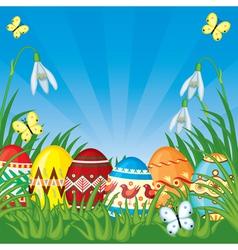 Easter congratulatory background vector image vector image