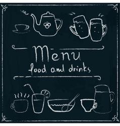 Hand drawn restaurant menu design on blackboard vector image