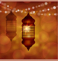 illuminated arabic lamp lantern with string of vector image