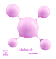 Pink molecule isolated on white background vector image vector image