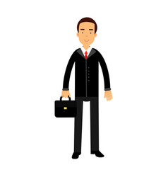 smiling businessman character in black suit vector image vector image