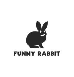 Smiling funny rabbit silhouette logo design single vector image vector image