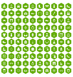 100 vogue icons hexagon green vector
