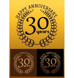 30 years anniversary signs with laurel wreaths vector image vector image