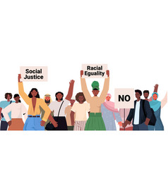 african american people activists holding stop vector image