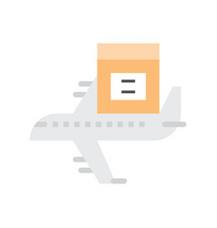 air shipping icon parcel box on airplane flat vector image