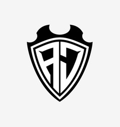 Aj initials monogram logo shield designs a modern vector