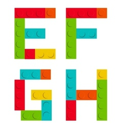 Alphabet set made of toy construction brick vector image