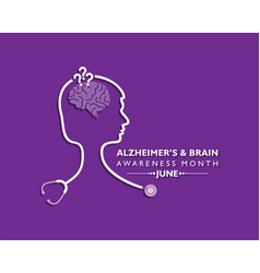 Alzheimers and brain awareness month observed vector