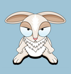 Angry rabbit on blue background vector