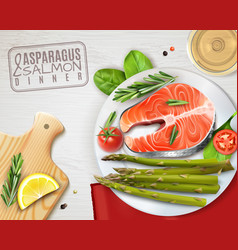 Asparagus salmon dish realistic image vector