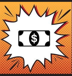 Bank note dollar sign comics style icon vector