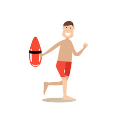 Beach rescuer in flat style vector