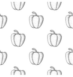 bell pepper seamless pattern outline hand drawn vector image