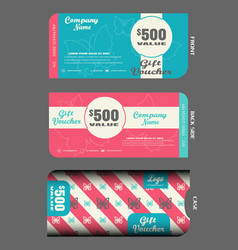 Blank stylish gift voucher with case to vector