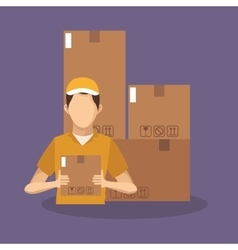 Box and man of delivery concept design vector
