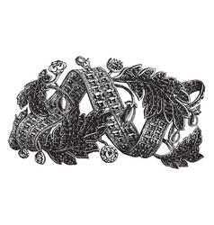 Bracelet is designed in a swirling ribbon vintage vector