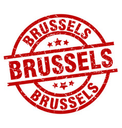 Brussels red round grunge stamp vector