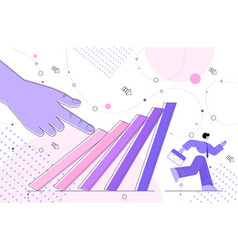 businessman running away from falling domino vector image
