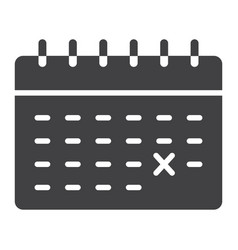 calendar glyph icon time and date reminder vector image