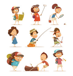 Camping kids icons set vector