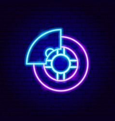 Car wheel neon sign vector