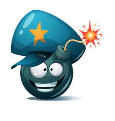 Cartoon bomb fuse wick spark icon police vector