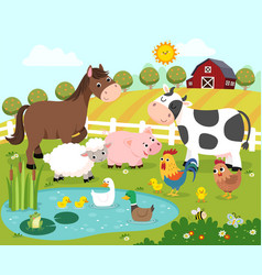 Cartoon happy farm animals vector