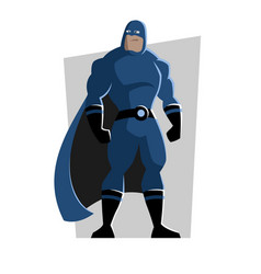 Cartoon superhero in a suit with a cloak vector