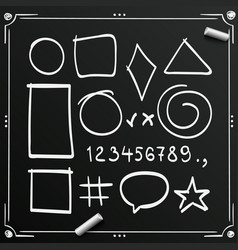 Chalkboard sketch symbols sign figure icons vector
