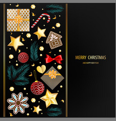 christmas greeting dark postcard ornament vector image