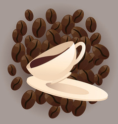 coffee beans and cup vector image