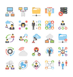 Communication and networking icons set vector