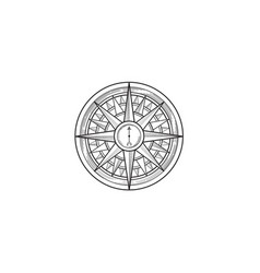compass wind rose drawn design element black line vector image